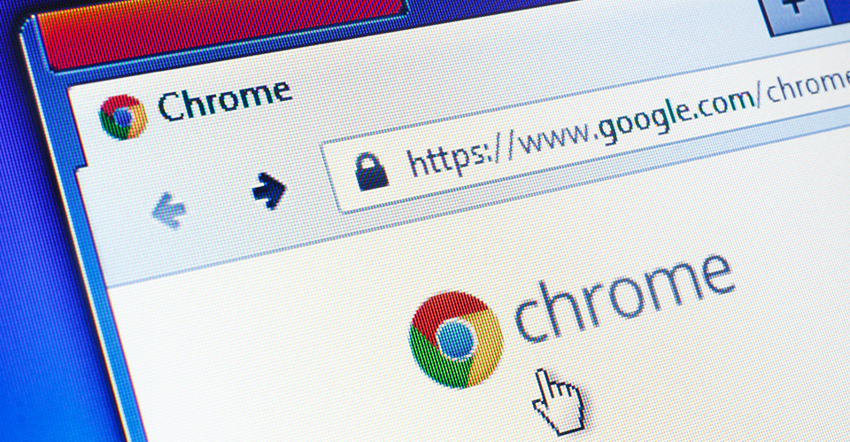 Close-up image of Google Chrome browser